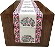 BLOCKS OF INDIA Hand Block Printed Cotton Table Runner for Center/Dining Table (13 x 72Inches) (Pink & Pea