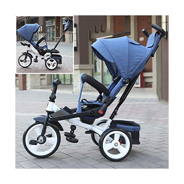 Baby Kids Children Tricycle Ride-on 3 Wheels Safe for Children with Sun Canopy,Back Storage and Non-Slip Handle (Color : A) DUOER-Pushchairs Features assembled canopies without worrying about rain and sunshine. Safety features and safety belts are provided for safety. The pedal can be folded for more convenient use: the pedal can be folded to make travel more convenient. Upgrade the thickened sponge pillow to protect the baby's head and make the baby ride safer. 7