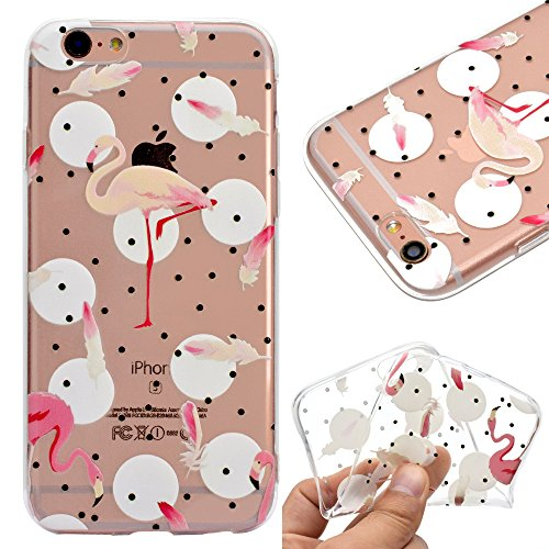 Coque pour iPhone 8,Etui Housse pour iPhone 7,Leeook Joli Mignonne Transparent Flamant Peint Conception Doux Mince Souple Caoutchouc Bumper TPU Case Crystal Etui Housse de Protection Back Cover pour iPhone 8/7 4.7\\