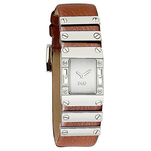 D&G Dolce&Gabbana DW0350 - Reloj analógico de mujer de cuarzo con correa de piel marrón