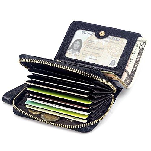 15216e918c86c BAGZY Kleine Echt-Leder Geldbörse Damen Portemonnaie Reißverschluss Frau  Brieftasche Kreditkartenfahrer Halter Clutch Travel Handtasche  Visitenkarten Fall ...