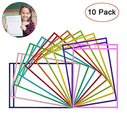 wiederverwendbar Dry Erase Taschen-Designerbox Set von 10, übergroße 25,4x 35,6cm, verschiedene Farben-Ideal für Klassenzimmer, Home, oder Arbeit -