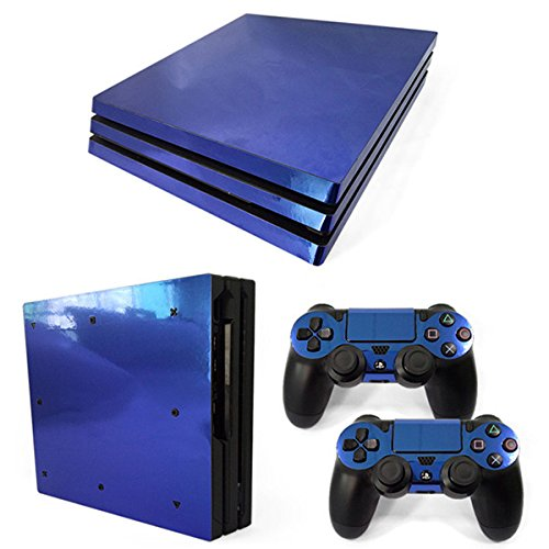 Morbuy Ps4 Pro Skin Consola Design Foils Vinyl Pegatina Sticker Decal And 2 Playstation 4 Pro Dualshock Controlador Skins Set (Blue Glossy)