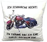 Anti-Schnarch Kissen Harley Davidson Spruch Ich Schnarche Nicht Geschenk Geburtstag Motorrad-Fans Schnarchen