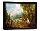 """Gerahmtes Bild von Jean Antoine Watteau """"Die Einschiffung nach Kythera"""", Kunstdruck im hochwertigen handgefertigten Bilder-Rahmen, 60x40 cm, Schwarz matt"""