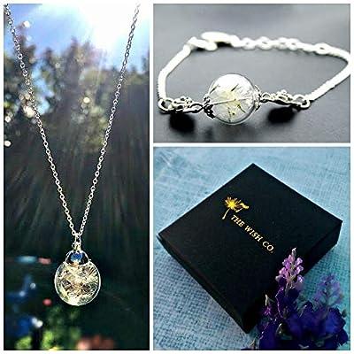 Collier de pissenlit et bracelet Ensemble-cadeau - Chaîne en argent sterling bracelet à breloques pendentif en argent ensemble de bijoux fir filles cadeau d'anniversaire pour la fille ami soeur