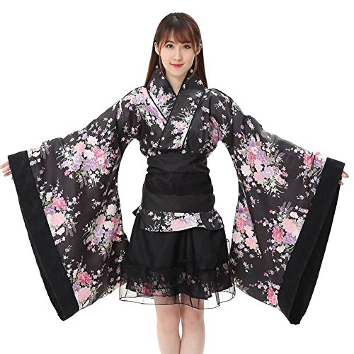 Lolita Kimono Cosplay Kostüm Anime Cosplay Lolita Kleid Damen Japanische Kimono Kostüm Set Weihnachten Halloween Karneval Cosplay Party Trägerkleid Tops+Rock+Gürtel+Schleife 4PCS (XL, Schwarz) Kimono-kleid-set