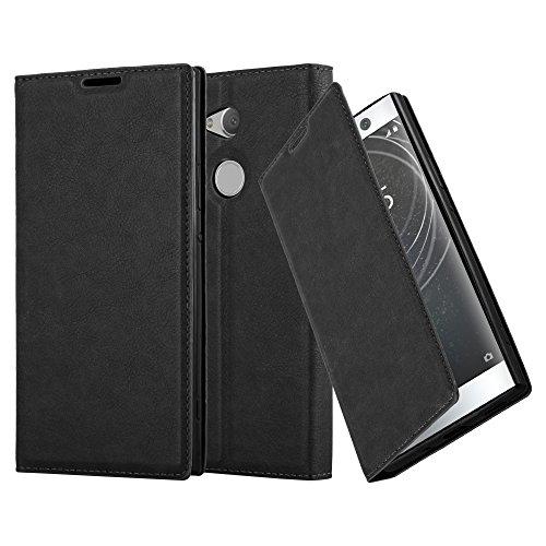Cadorabo Hülle für Sony Xperia XA2 Ultra - Hülle in Nacht SCHWARZ - Handyhülle mit Magnetverschluss, Standfunktion & Kartenfach - Case Cover Schutzhülle Etui Tasche Book Klapp Style