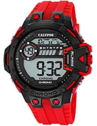 Calypso UK5696/3 - Reloj de pulsera deportivo para hombre (digital, correa de PU, mecanismo de cuarzo, esfera en negro y rojo)