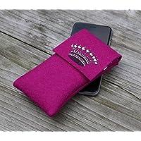 zigbaxx Handyhülle - u.a. für Huawei P10 Plus, Huawei P10, Huawei Mate 9 Mate 10/ Smartphone-Hülle Crown I aus Woll-Filz mit Krone aus Strass & Studs - pink / anthrazit-schwarz / beige / grau / braun