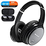 FITFORT Noise Cancelling Wireless Headphones Over Ear - Bluetooth Headset with HiFi Stereo Sound, Build in Mic, Supports Hands-Free Calling and Wired Mode for Phones, PC, TV and Air Travel