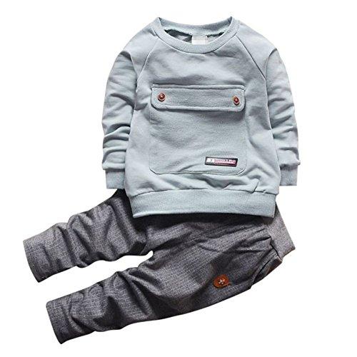 Baby Boy Big Pocket Kleidung Set Langarm T-Shirt Top und Hose Herbst Frühling Outfit für 0-4 Jahre Alt