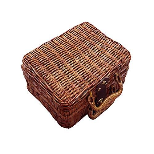 Hete-supply Retro handgewebte rechteckige Wicker Handtasche, lässig Sommer Strand Tasche Wicker Picknick Korb Top Griff Handtasche Vintage Reisende Koffer Prop Box (21 × 17 × 11 cm) -