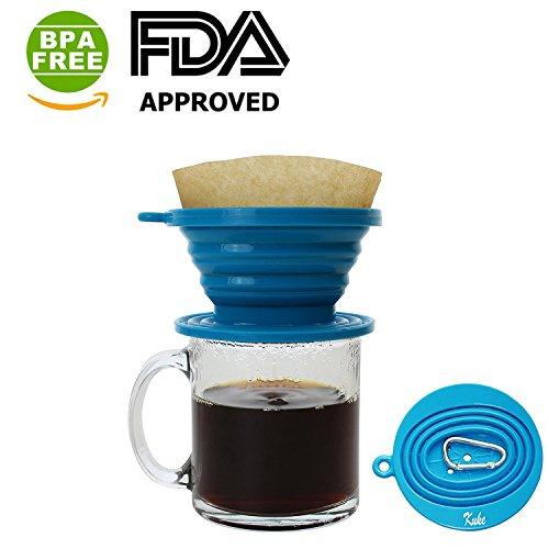 Kuke Faltbarer Silikon Kaffeefilter & Dripper für unterwegs Reisen Camping Wandern sowie im Büro und zu Hause (balu)