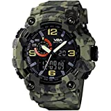 V2A Green Camouflage Analog Digital Sport Watches for Men's and Boys (Black Dial and Green Color Strap)