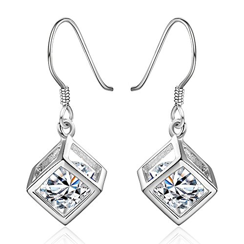 NYKKOLA Beautiful Classic 925 Sterling Solid Silver plated Clear Crystal Mosaic Wire Hook Earrings