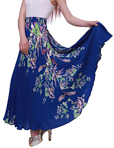 Relaxfeel Frauen Hohe Taille Formalen Lange Maxi Gefalteten Rock Printing blue