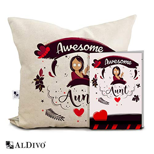 alDivo Premium Quality Awesome Aunt Printed Combo Gift Pack (12 inch x 12 inch Printed Cushion Cover with Filler + Greeting Card)