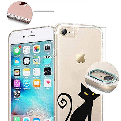 finoo |Iphone 6/6S Weiche flexible lizensierte Silikon-Handy-Hülle | Transparente TPU Cover Schale mit Halloween Motiv | Tasche Case mit Ultra Slim Rundum-schutz | Zombie Mädchen Schwarze Katze