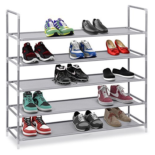 Halter 5-Ebenen-Schuhregal aus Edelstahl, stapelbare Regelböden-hält 15 - 20Paar Schuhe-90,8x 28,3x 87cm-grau
