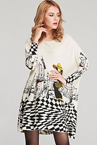 MatchLife Damen Gedruckt Strickpullover Rundhals Jumper Top Style 1 Weiß