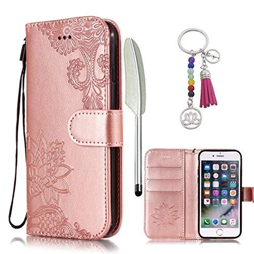 KM-Panda Housse Coque Apple iPhone 7 8 Cuir PU Wallet Cover TPU Silicone Étui Portefeuille Flip Case - Dentelle Rose Or par  KM-Panda