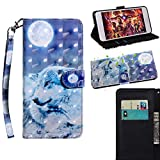 BONROY Samsung Galaxy S7 Case, Wallet Case Soft PU Leather Notebook Design Case with Kickstand Function Card Holder and ID Slot Slim Flip Protective Cover-(TX-moon wolf)