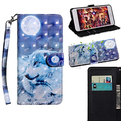 BONROY Huawei Nova 3 Hülle Ledertasche Schutzhülle Case Tasche mit Standfunktion und Card Holder-(TX-Mondwolf)