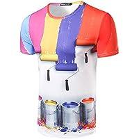 Hombres camiseta de manga corta_3D Rainbow Individual elegante funda Short-Sleeve Camiseta,M
