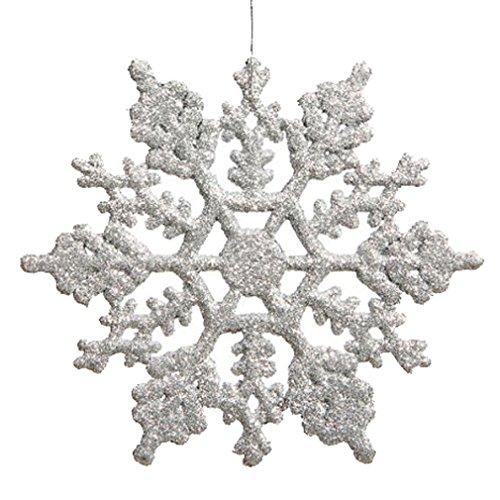 Hikong Natale ornamenti fiocco di neve, 24pcs scintillanti argento iridescente glitter Fiocco di neve sul gancio di stringa per decorare