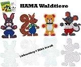 HAMA Stiftplatten-Set midi Waldtiere Eichhörnchen + Bär + Hase + Maus + Malheft