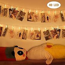 YISSVIC Cadena de luces LED 40 Fotoclips Adorno Guirnalda Luminosa LED para la Luminación Decorativa Blanco Cálido Luces del Efecto Romántico para las Fiestas o Día Especial.