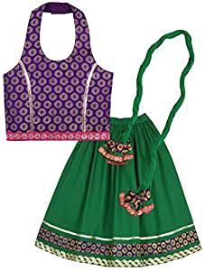 Lil'Posh Halter Neck Style Choli With Ghagra And Dupatta Set - Green (4 - 5 Years)