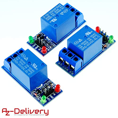 AZDelivery ⭐⭐⭐⭐⭐ 3 x 1-Relais 5V KF-301 Modul Low-Level-Trigger für Arduino -