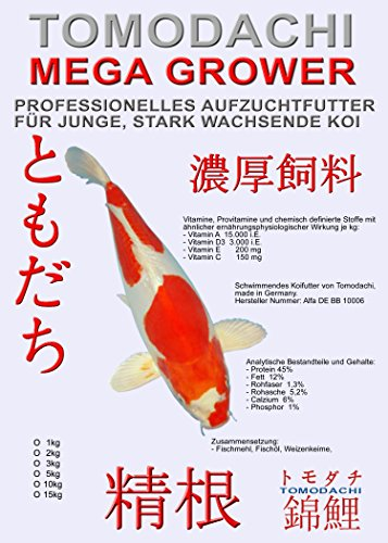 Koifutter, Wachstumsfutter für Koi Tomodachi Mega Grower, Aufzuchtfutter Tosai für Mega Wachstum, 2kg, 2mm Koipellets -