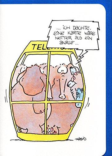 Grußkarte witzig Elefanten: Netter als ein Anruf A6