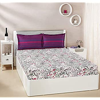 Amazon Brand - Solimo Fresh Ferns 144 TC 100% Cotton Double Bedsheet with 2 Pillow Covers, Violet