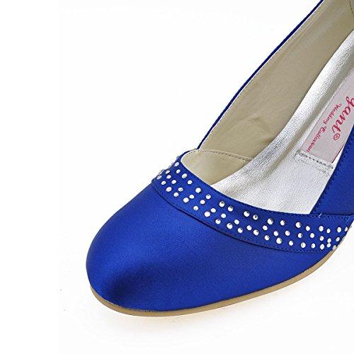 ElegantPark A0718 Damen Runden Zehen Pumps Satin Strass Abendschuhe Brautschuhe Blau