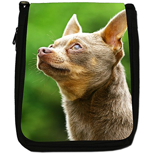Chihuahua messicano taco Bell cane medio nero borsa in tela, taglia M Furry Chihuahua Looking Up