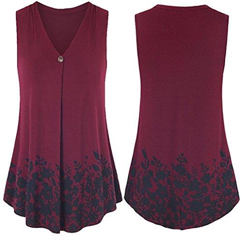 OSYARD Damen Knopf-Blumendruck-T-Shirt Kurze ärmellose Spitzenbluse(EU 46/XL, Rot)