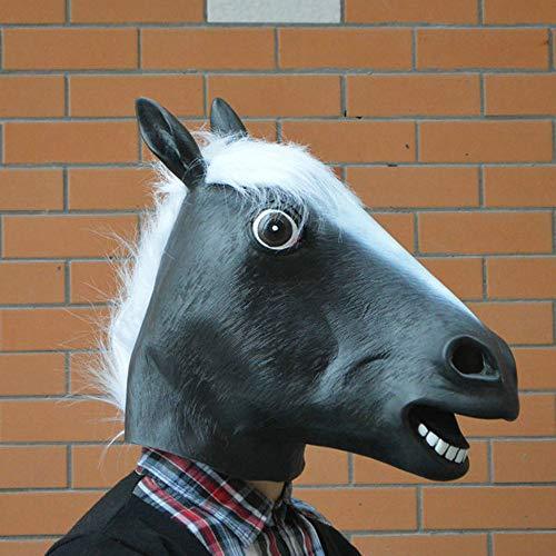Einen Kostüm Machen Pferdekopf Sie - QHJ Halloween Maske, Halloween Accessoires Halloween Pferdekopf Maske Halloween Party Pferd Latex Maske (Schwarz)
