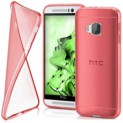 Cover di protezione HTC One M9 Custodia Case silicone sottile 0,7mm TPU | Accessori Cover cellulare protezione | Custodia cellulare Paraurti Cover Traslucida Trasparente BLAZING-RED