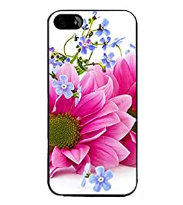 Fuson Premium 2D Back Case Cover Pink floral With Yellow Background Degined For Apple iPhone 4::Apple iPhone 4S