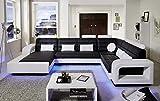 SAM Wohnlandschaft New York mit LED Beleuchtung in der Ausführung schwarz / weiß Sitzfläche im abgesteppten Design und angenehme Polsterung Größe ca. 185 x 363 x 243 cm Kissen inklusive pflegeleichte Oberfläche futuristisches Design Lieferung montiert per Spedition