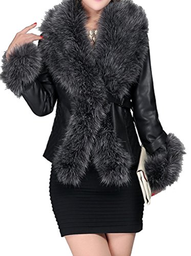 helan-womens-pu-leather-big-faux-fox-fur-collar-slim-coat-deep-grey-uk-16