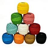 #10: Embroiderymaterial Crochet Cotton Thread Yarn for Knitting and Craft Making,Combo Pack(10 Roll)