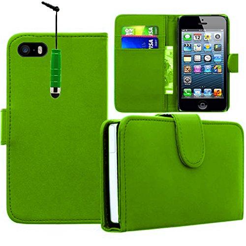VCOMP® PU-Leder Handy Brieftasche mit Kartenfächer für Apple iPhone 5/ 5S/ SE - GRÜN GRÜN + Mini Eingabestift