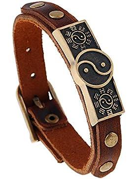 JSEA Brown Leder Yin Yang Taiji Armband Armreif für Männer Jungen Vintage