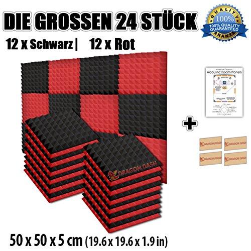 super-dash-kombination-24-pack-von-50-x-50-x-5-cm-rot-schwarz-pyramide-akustikschaumstoff-noppenscha