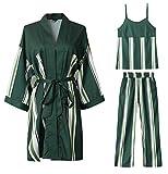 DZW Satin Pyjamas Womens Nachtwäsche Langarm Streifen Grün Silk Stickerei Set , f , Olive Green Schlank